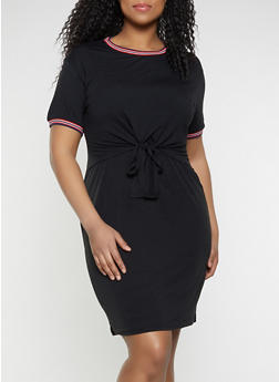 Plus Size Tie Front Overlay T Shirt Dress - 1390034280236