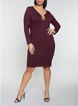 Plus Size Metallic Detail Bodycon Dress - 1390034280318