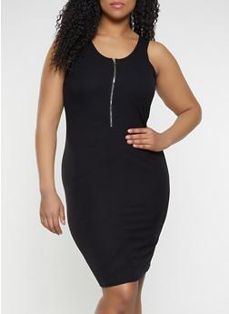 Plus Size Half Zip Bodycon Dress - 1390034280367