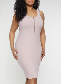 Plus Size Half Zip Bodycon Dress - 1390034280367