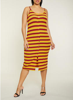 Plus Size Striped Rib Knit Bodycon Dress - 1390034280372