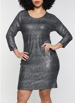 Plus Size Lurex Bodycon Dress - 1390034280955