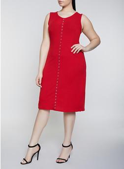 Plus Size Rib Knit Grommet Trim Tank Dress - 1390034281253