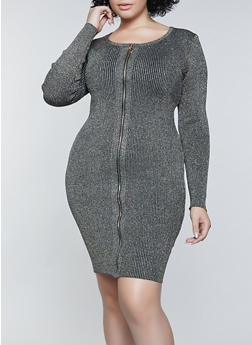 Plus Size Ribbed Lurex Zip Front Dress - 1390034282094