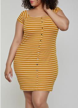 Plus Size Off the Shoulder Striped Button Dress - 1390034282702
