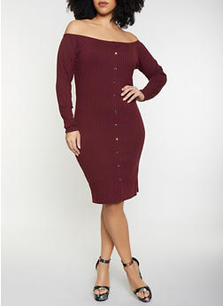 Plus Size Off the Shoulder Bodycon Dress - 1390034282722