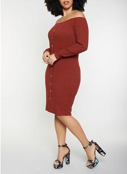 Plus Size Off the Shoulder Bodycon Dress - 1390034282722