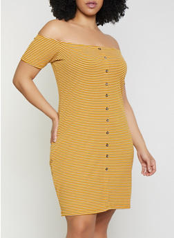 Plus Size Striped Faux Button Off the Shoulder Dress - 1390034282810