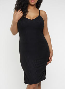 Plus Size V Neck Bodycon Dress - 1390034285934