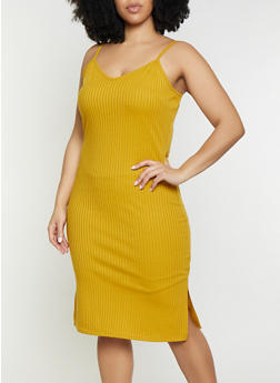 Plus Size V Neck Bodycon Dress - 1390034285934