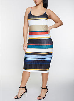 Plus Size Striped Bodycon Dress - 1390034285936