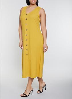 Plus Size Maxi Tank Dress - 1390034286382