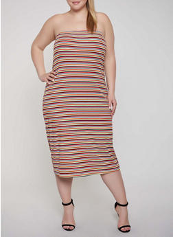 Plus Size Striped Rib Knit Tube Dress - 1390034286704