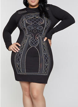 Plus Size Studded Mock Neck Bodycon Dress - 1390034288692