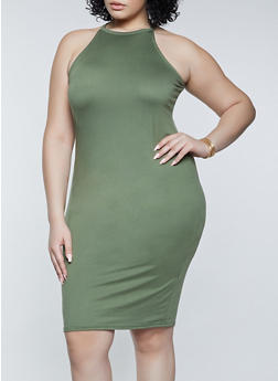 Plus Size Slashed Back Bodycon Dress - 1390038340508