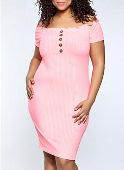 Plus Size Off the Shoulder Button Bodycon Dress - 1390038340542
