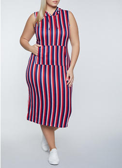 Plus Size Striped Hooded Bodycon Dress - 1390038340556