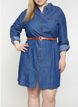 Plus Size Denim Shirt Dress - 1390038340707