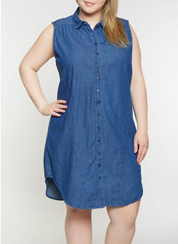 Plus Size Denim Button Front Shirt Dress - 1390038340708