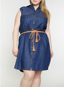 Plus Size Belted Denim Shirt Dress - 1390038340709