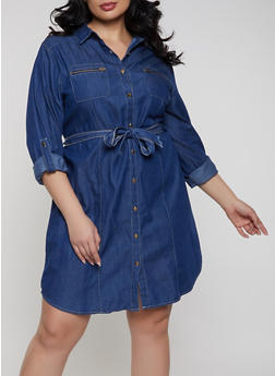 Plus Size Chambray Shirt Dress - Blue - Size 2X - 1390038340710