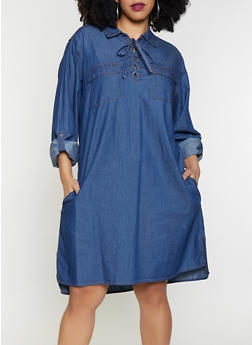 Plus Size Lace Up Denim Dress - 1390038340711