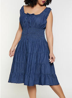 2d513f0cc47 Plus Size Denim Skater Dress - 1390038340712