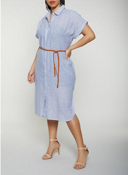 Plus Size Striped Linen Belted Shirt Dress - 1390038340720