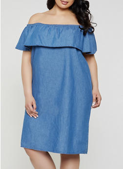 Blue 2X Denim Dresses