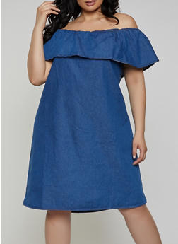 Plus Size Ruffle Off the Shoulder Denim Dress - 1390038340760