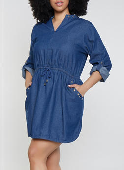 Plus Size Denim Grommet Detail Dress - 1390038340764