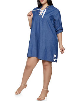 Plus Size Lace Up Denim Shift Dress - 1390038340765