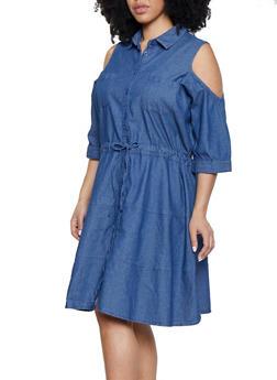 Plus Size Cold Shoulder Denim Dress - 1390038340766