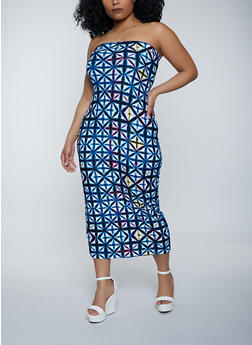 Plus Size Geometric Midi Tube Dress - 1390038340891