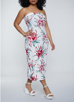 Plus Size Floral Print Midi Tube Dress - 1390038340895