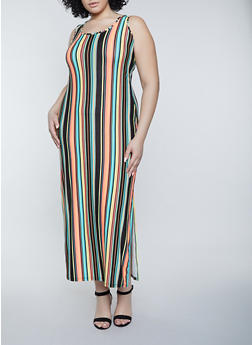 Plus Size Vertical Stripe Tank Maxi Dress - 1390038340902