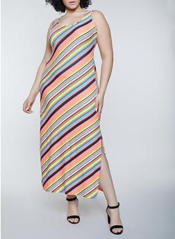 Plus Size Soft Knit Striped Tank Maxi Dress - 1390038340904