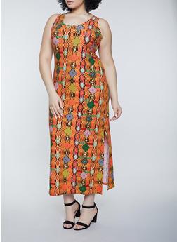 Plus Size Abstract Print Tank Maxi Dress - 1390038340906