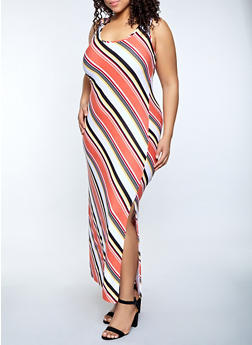 Plus Size Diagonal Striped Tank Maxi Dress - 1390038340908