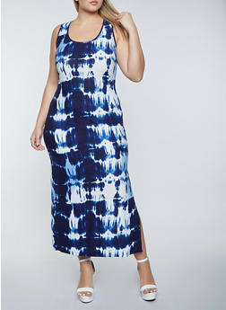 Plus Size Tie Dye Soft Knit Tank Maxi Dress - 1390038340911