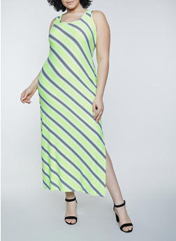 Plus Size Diagonal Stripe Tank Maxi Dress - 1390038340912