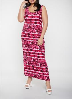 Plus Size Tie Dye Tank Maxi Dress - 1390038340917