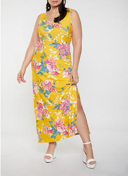 Plus Size Floral Tank Maxi Dress - 1390038340919