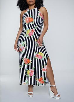Plus Size High Neck Floral Stripe Maxi Dress - 1390038340925