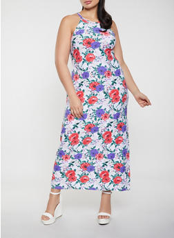 Plus Size Multi Color Floral Tank Maxi Dress - 1390038340926
