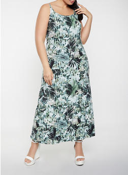 Plus Size Palm Leaf Print Cami Maxi Dress - 1390038340931