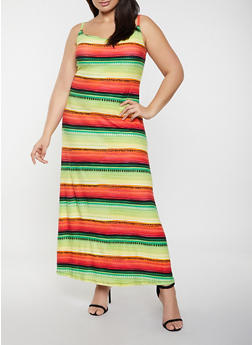 Plus Size Multi Stripe Cami Maxi Dress - 1390038340932