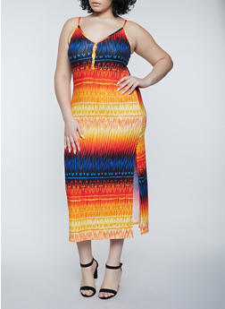 Plus Size Printed Cami Maxi Dress - 1390038340939