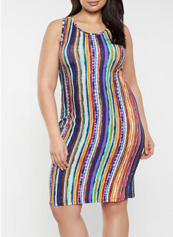 Plus Size Vertical Stripe Tank Dress - 1390038340952