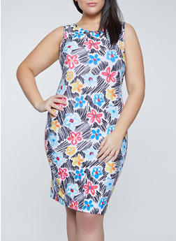 Plus Size Floral Tank Dress - 1390038340953